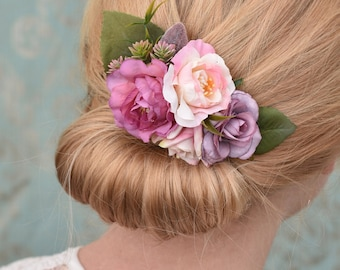 Peony and Rose Hair Clip in Pink and Mauve Purple