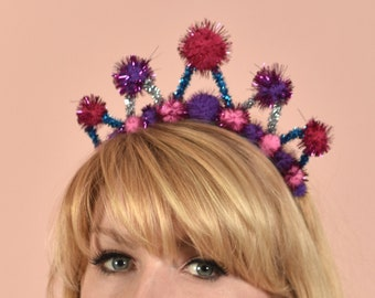 Tinsel Crown Headband in Pink, Purple and Blue