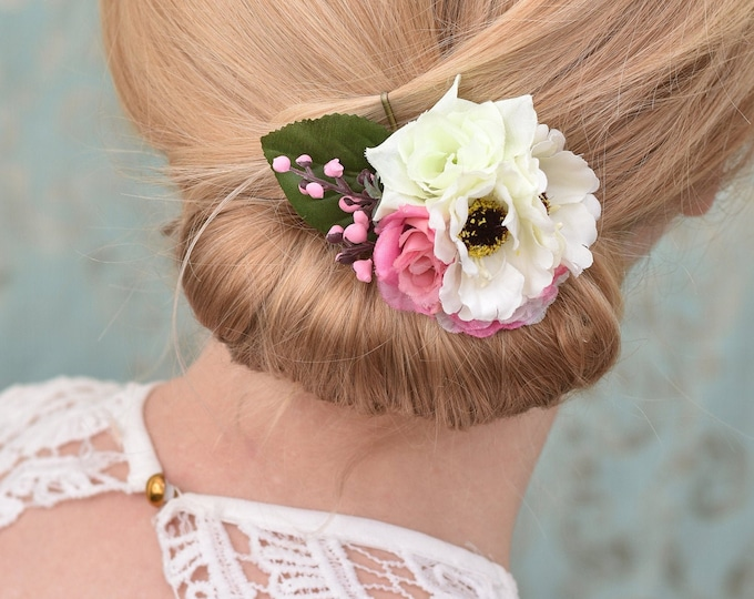 Silk Flower Hair Clip in Pink and White