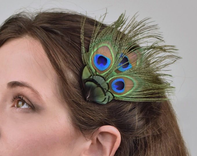 Peacock Feather Hair Clip Fascinator