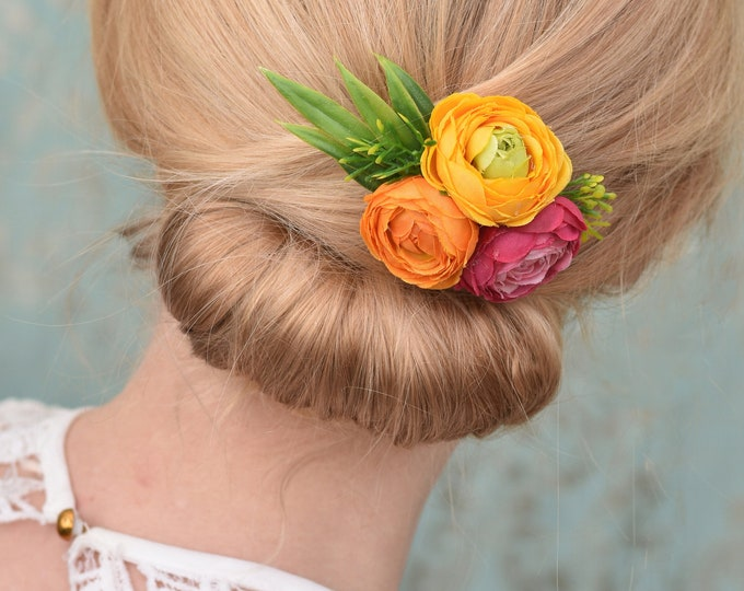 Ranunculus Flower Hair Clip in Yellow, Orange and Pink