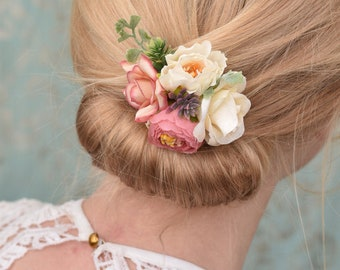 Rose and Ranunculus Hair Clip in Pink and White