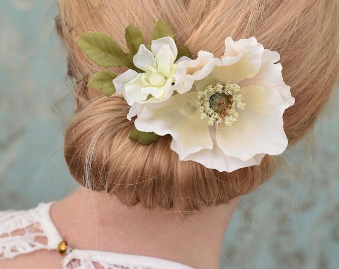 Blush Poppy Flower Hair Clip