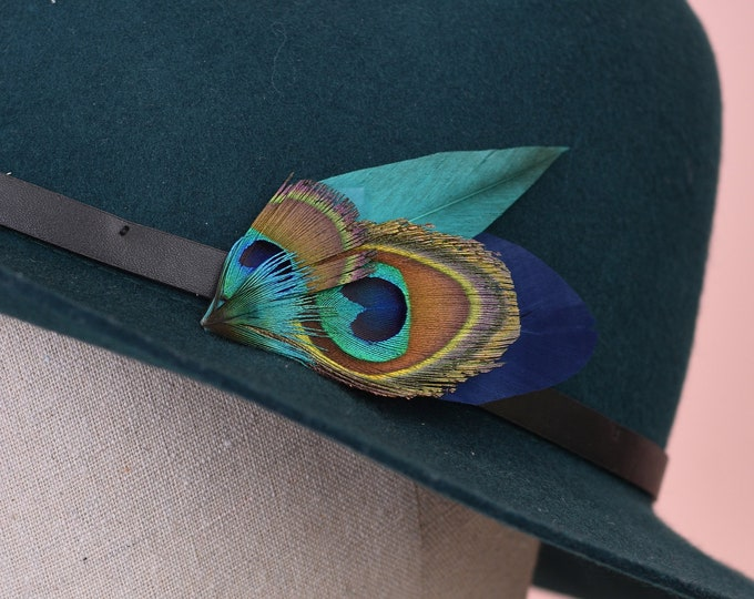 Teal and Navy Peacock Small Feather Lapel Pin / Hat Pin No. 60