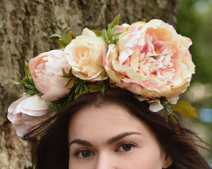 Blooming Peony Flower Crown Headband in Blush Pink and Ivory