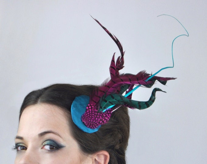 Bright Turquoise and Pink Feather Fascinator