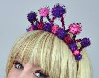 Tinsel Pom Pom Crown  in Pink and Purple