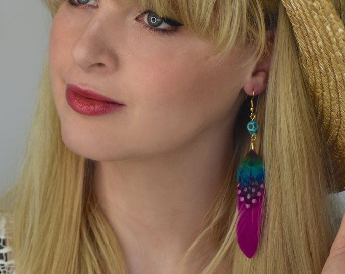 Pink Feather and Skull Earrings