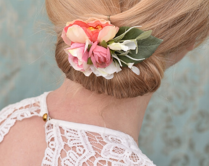 Silk Flower Hair Clip in Pink and White Ranunculus and Roses