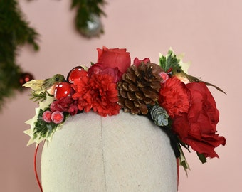 Festive Half Flower Crown in Red and Gold