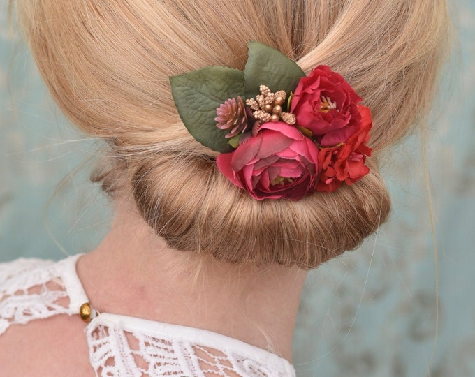 Silk Flower Hair Clip in Red and Gold