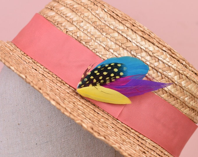 Small Pink, Yellow, Turquoise and Purple Feather Hat Pin No.51