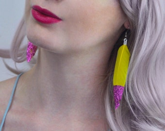 Feather Earrings in Orange with Turquoise Glitter or Yellow with Pink Glitter | Festival Earrings | Glitter Earrings | Glitter Feathers