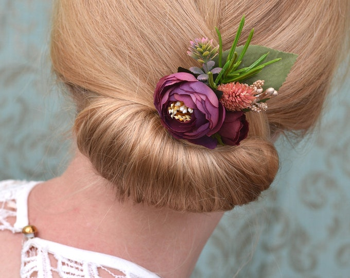 Ranunculus Hair Clip in Plum, Pink and Gold