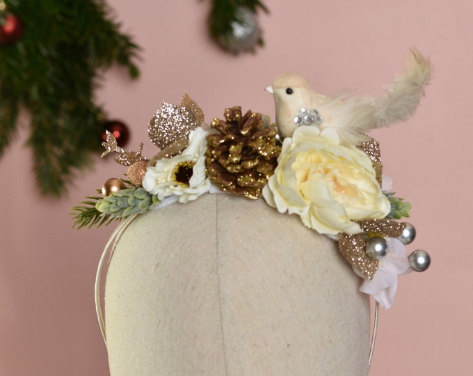 Christmas Headpiece in Ivory and Gold with Bird