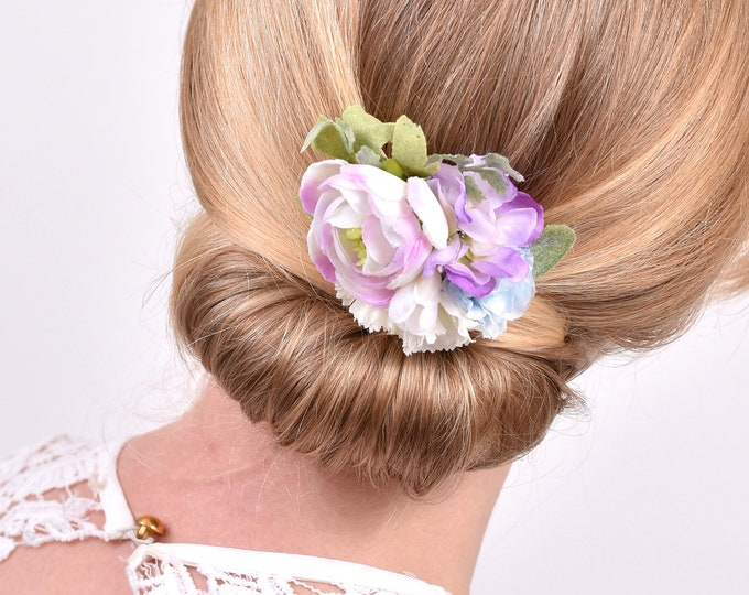 Lilac, Blue and White Flower Hair Clip