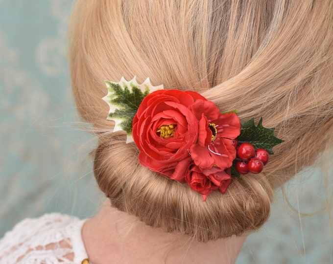 Festive Holly, Berry and Red Flower Hair Clip