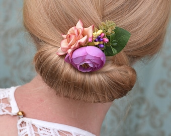 Pink and Purple Rose and Ranunculus Flower Hair Clip