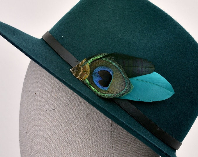 Teal and Peacock Feather Lapel Pin / Hat Pin No.106
