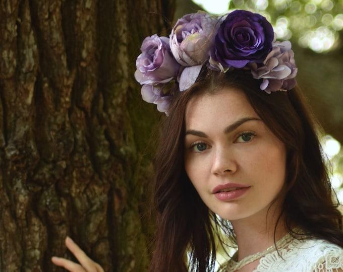 Lyla - Purple Flower Crown Headpiece