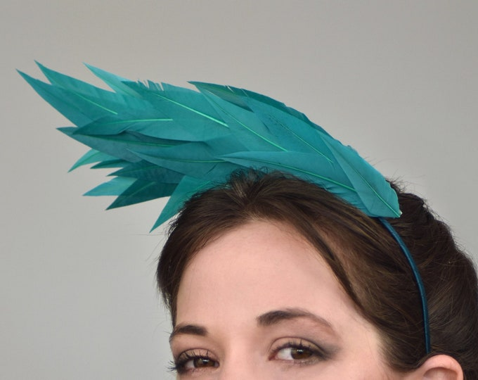 Sculptural Teal Wave Feather Headband