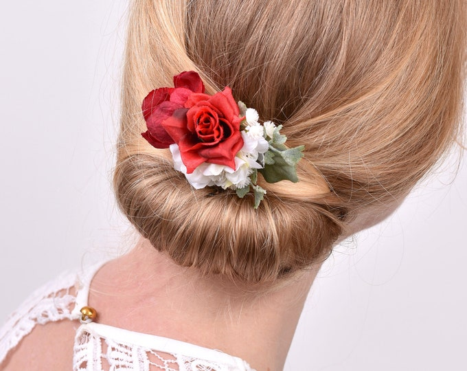 Red and White Rose Hair Clip