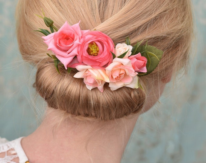 Silk Flower Hair Clip in Pink Roses and Ranunculus