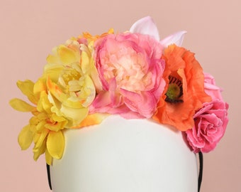 Tropical Pink, Orange and Yellow Flower Crown Headpiece