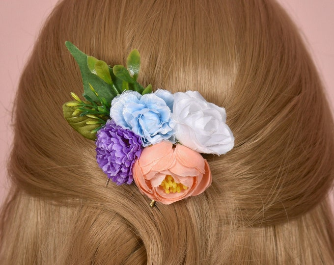 Silk Flower Hair Clip in Pastel Pinks, Lilac, Blue and White