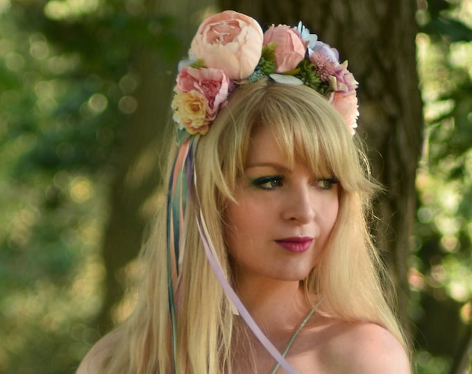 Pastel Peony and Succulent Flower Crown with Long Ribbons No.1