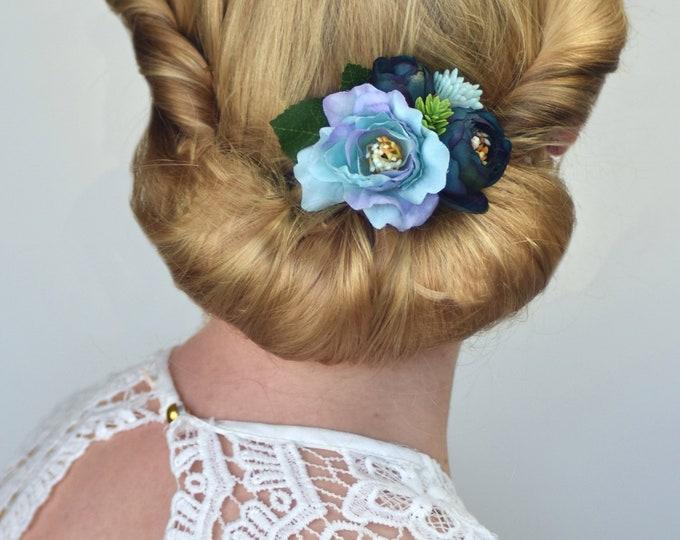 Silk Flower Hair Clip in Blue Peony and Ranunculus