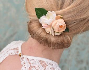 Peach Ranunculus Flower Hair Clip