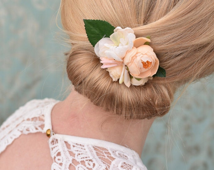 Peach Ranunculus Flower Hair Clip