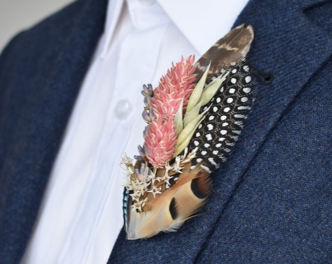 Dried Flower and Feather Lapel Pin No. 1