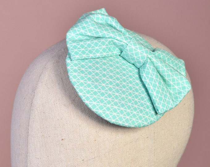 Bow Fascinator in Mint Green Geometric  or Floral Print