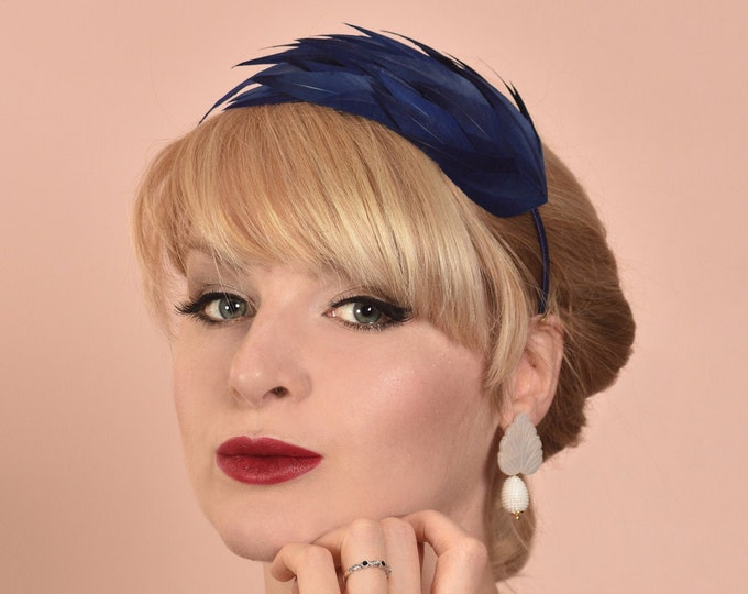 Navy Blue Feather Headband Fascinator