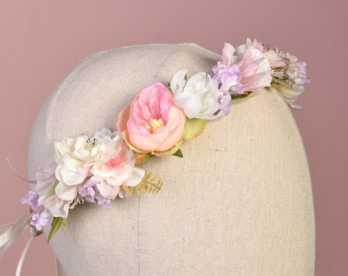Pastel Full Flower Crown Garland