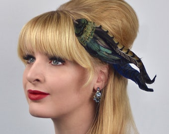Feather Hair Clip Fascinator in Black, Green and Blue