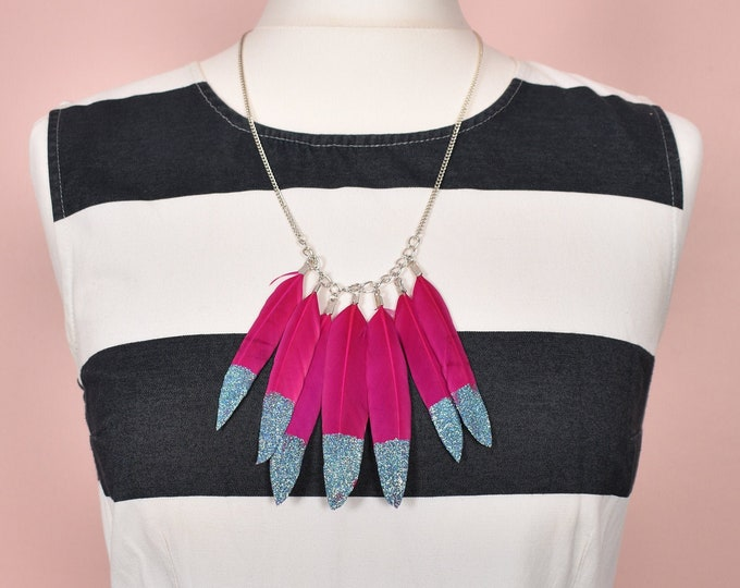 Feather Necklace in Hot Pink and Turquoise Glitter