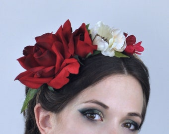 Red Rose Flower Crown Garland