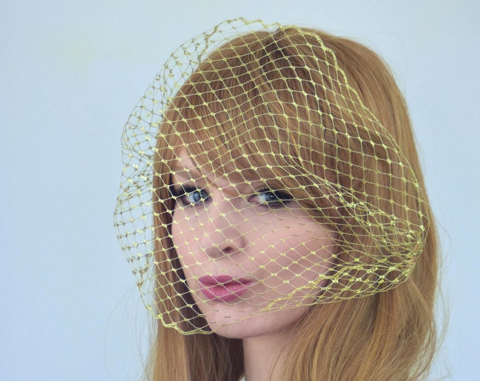 Metallic Gold Birdcage Net Veil