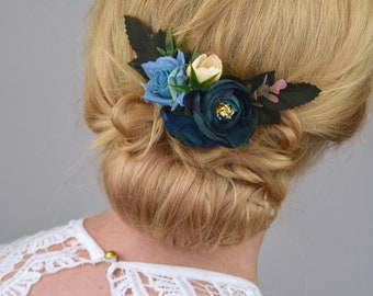 Silk Flower Hair Clip in Navy Blue Roses and Ranunculus