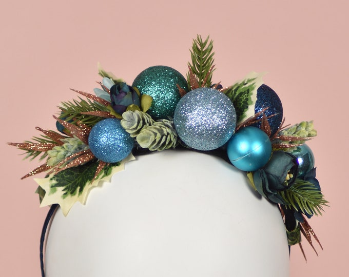 Festive Bauble Christmas Headband in Blue and Copper
