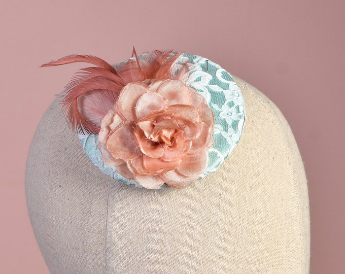 Mint Satin and Lace Fascinator with Coral Rose and Feathers