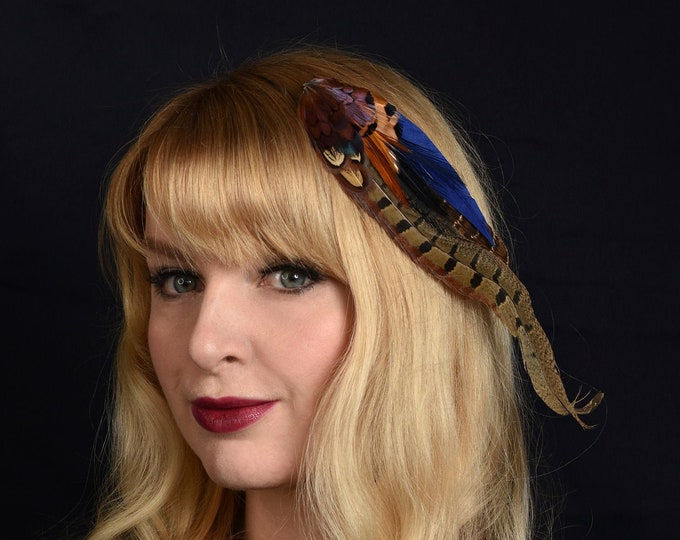 Navy Blue and Copper Pheasant Feather Hair Clip