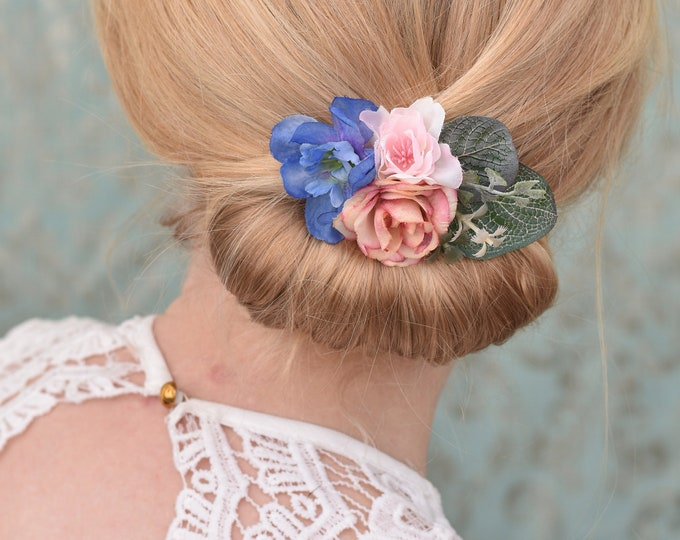Blue and Pink Flower Hair Clip with Eucalyptus