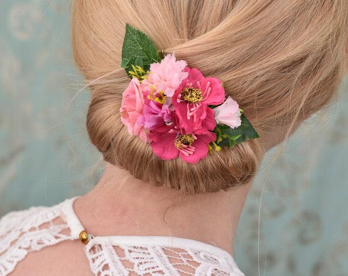 Silk Flower Hair Clip in Pink