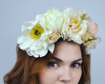 Ava - Ombre Ivory and Blush Peony Bridal Flower Crown Headpiece