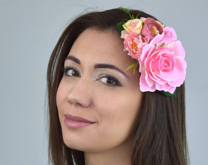 Soft Pink Vintage Style Rose Flower Hair Clip