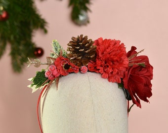 Festive Half Flower Crown in Red and Gold No.15